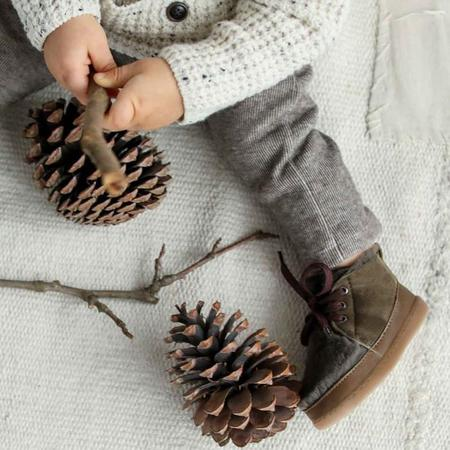 KIDS Birds Of Nature Winter Boots With Fur Lining - Moss Green