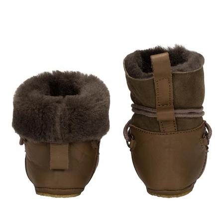 Birds Of Nature Baby Moon Boots With Fur Lining And Soft Soles - Moss Greens