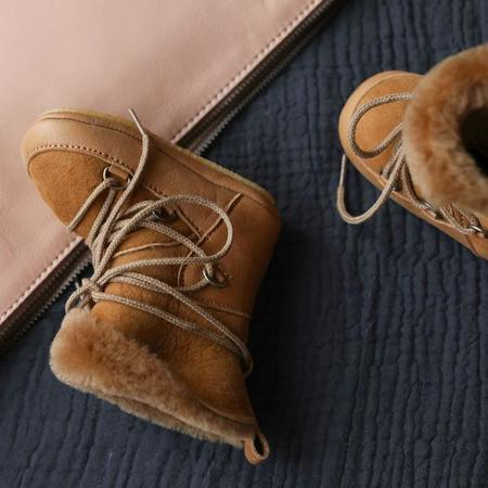 KIDS Birds Of Nature Moon Boots With Fur Lining And Soft Soles - Pine Brown
