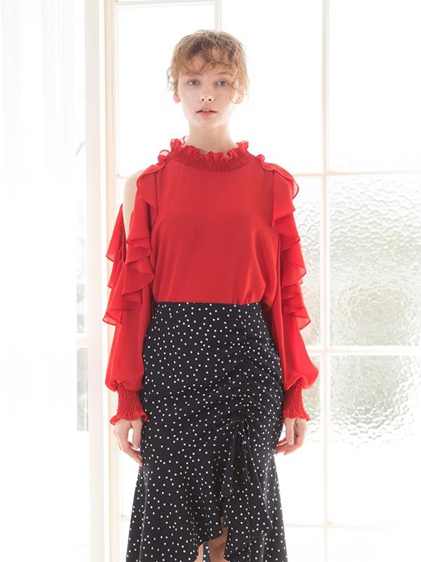 Red Dressy Smock Blouse Garmentory