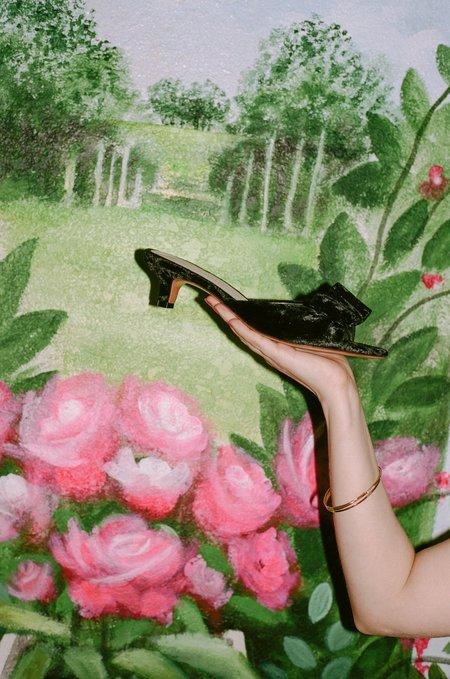 Mari Giudicelli Velvet Jeanne Sandal - Black