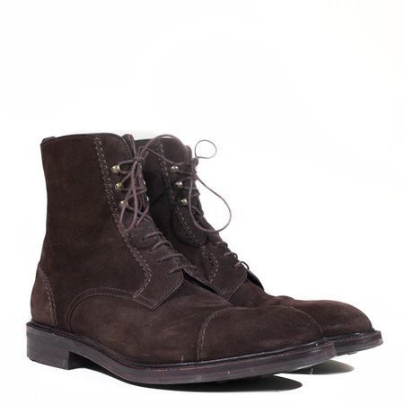 Vintage Oscar Suede Frankenstitch Jumper Boot - Dark Brown