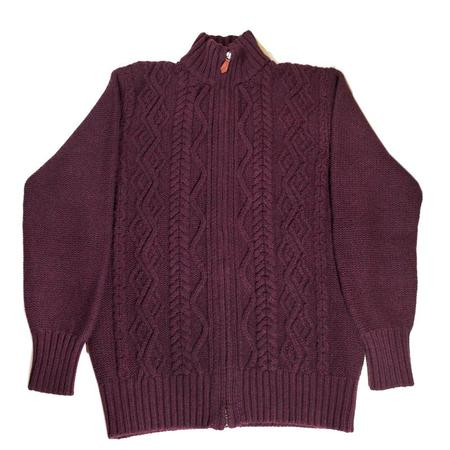 Inis Meáin Aran Zipper Knit Sweater - Bordeaux