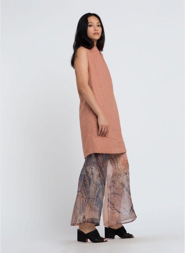 KAAREM Song Tu Wide Leg Organza Silk Pant - Khaya Print