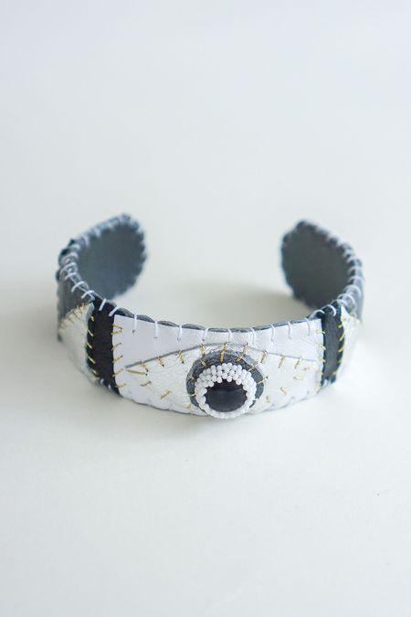 Robin Mollicone Beaded Leather Eye Cuff - Onyx