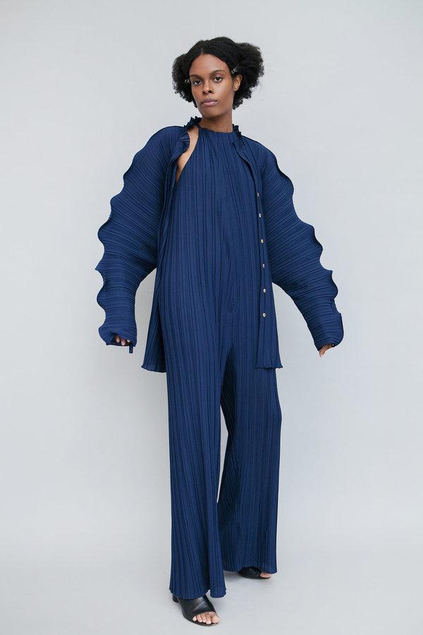 Lera pivovarova isa plisse blouse - deep blue
