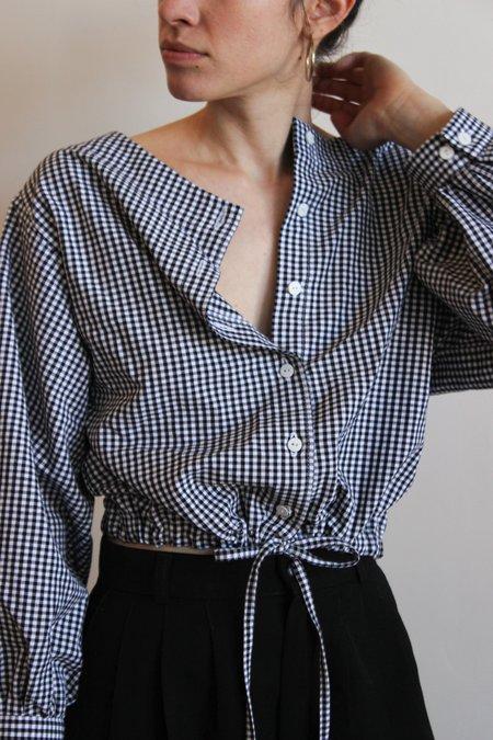 Avenue full sleeve drawstring blouse - gingham