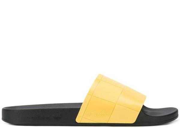 1fc71c715 Adidas x Raf Simons Adilette Checkerboard Slides - Black Yellow ...