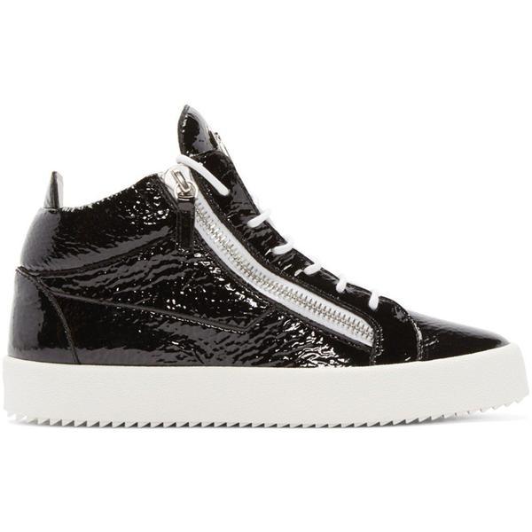 3508b0a55db52 Giuseppe Zanotti Patent London Mid-top Sneakers - Black | Garmentory