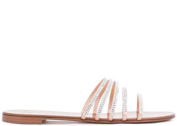 041e9a817cbce0 Giuseppe Zanotti Embellished Flat Sandals - Metal Ramino