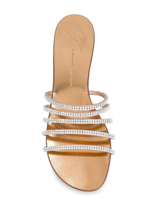 63053390a8f Giuseppe Zanotti Embellished Flat Sandals - Metal Ramino on Garmentory
