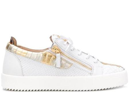 Giuseppe Zanotti Gail Metallic Low Top Sneaker - White/Gold