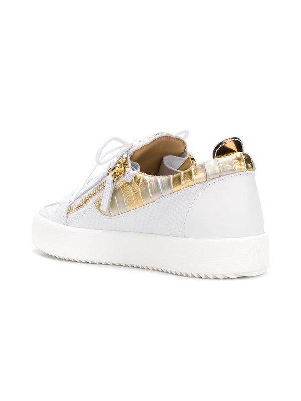 2e6a0a69712ab Giuseppe Zanotti Gail Metallic Low Top Sneaker - White/Gold | Garmentory