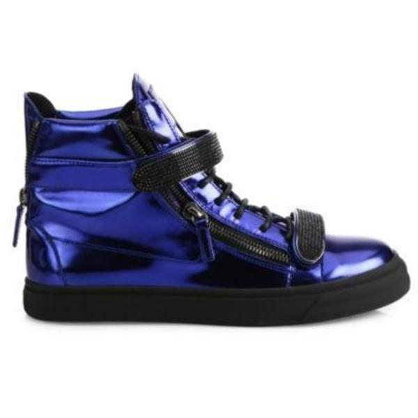 huge selection of 6bed9 2b1a1 GIUSEPPE ZANOTTI Double Bar High-Top Sneakers - Blue Metallic