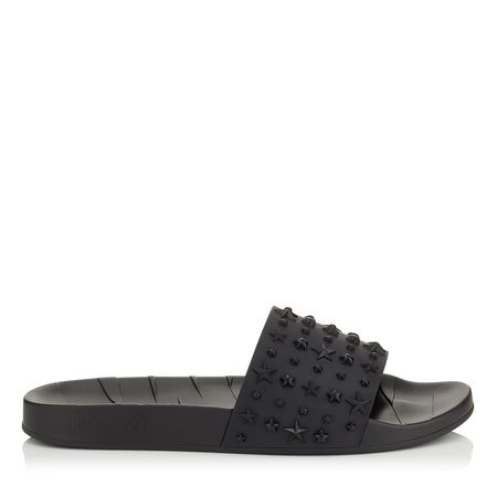 JIMMY CHOO Rey Star Embossed Rubber Slides - Black