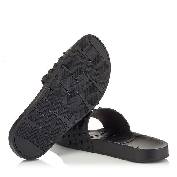 a50ac00add3 Jimmy Choo Rey Star Embossed Rubber Slides - Black | Garmentory