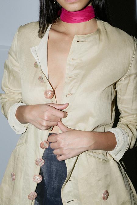 Las Cruxes Vintage Jean Paul Gaultier Tissue Cotton Dress Overcoat - Shell