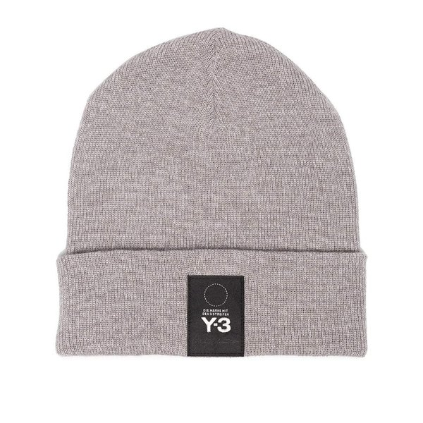 ea477ab22 Y-3 Logo Patch Beanie - Grey on Garmentory