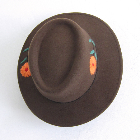 Brooklyn Hat Co. Embroidered Gaucho Hat - Brown