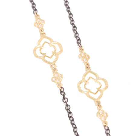 Armenta 18k & Midnight Silver Heraldy Cable Chain Necklace
