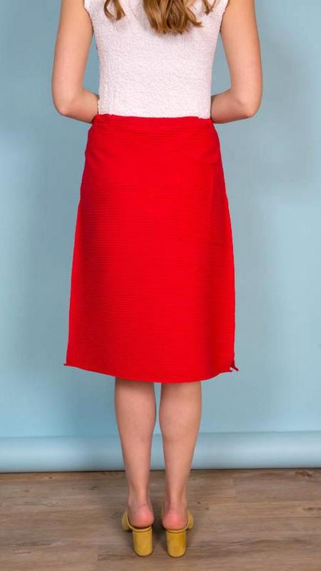 Issey Miyake A-Poc Pleats 2 A-line Skirt - Red