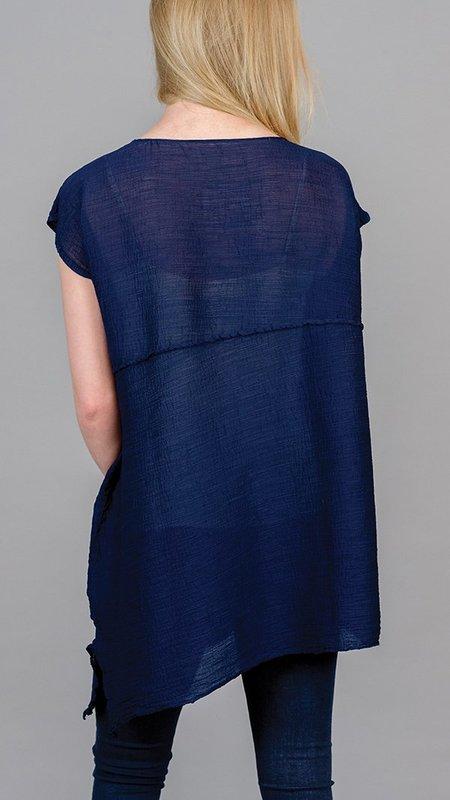 Issey Miyake Bias Crepe Cap Sleeve Top - Navy Blue