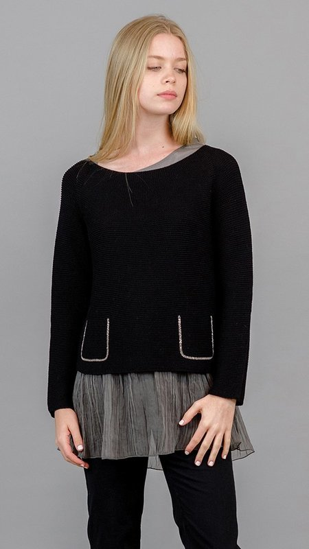 Fabiana Filippi Beaded Pockets Boat Neck Sweater - Black