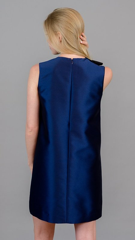 Edward Achour Paris Bow & Pockets Dress - Navy