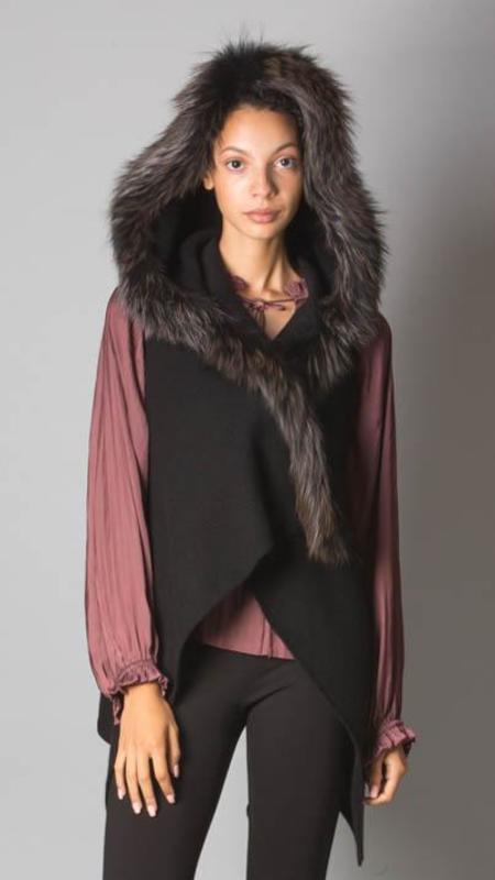 Fabiana Filippi Genuine Fox Fur Trim  Cashmere Cardigan - Black