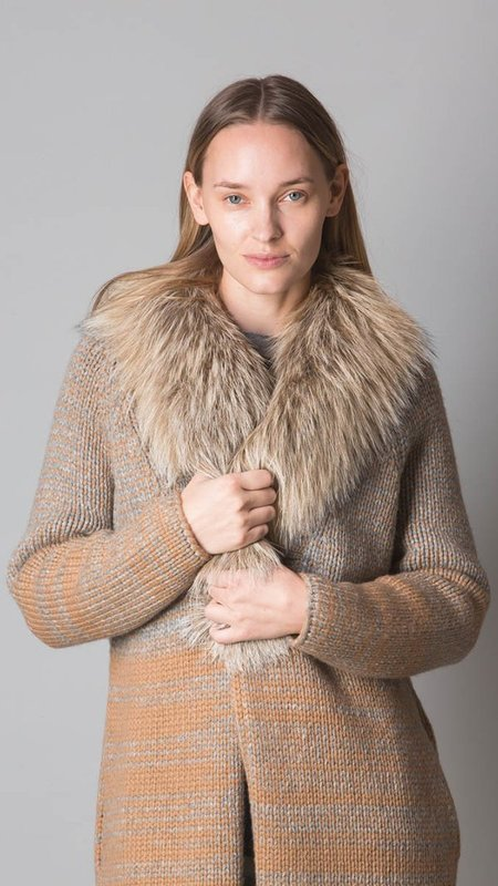 Fabiana Filippi  Cashmere Cardigan with Removable Genuine Fox Fur Collar - Tricolor