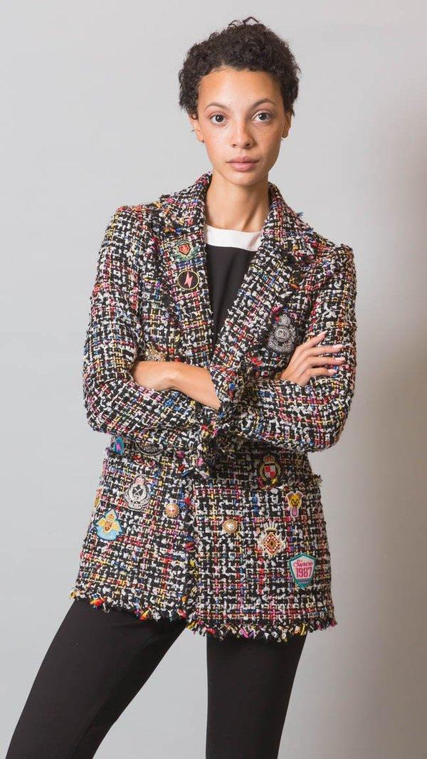 4ebba3942a3de Edward Achour Paris Patch Jacket - Colorful Tweed