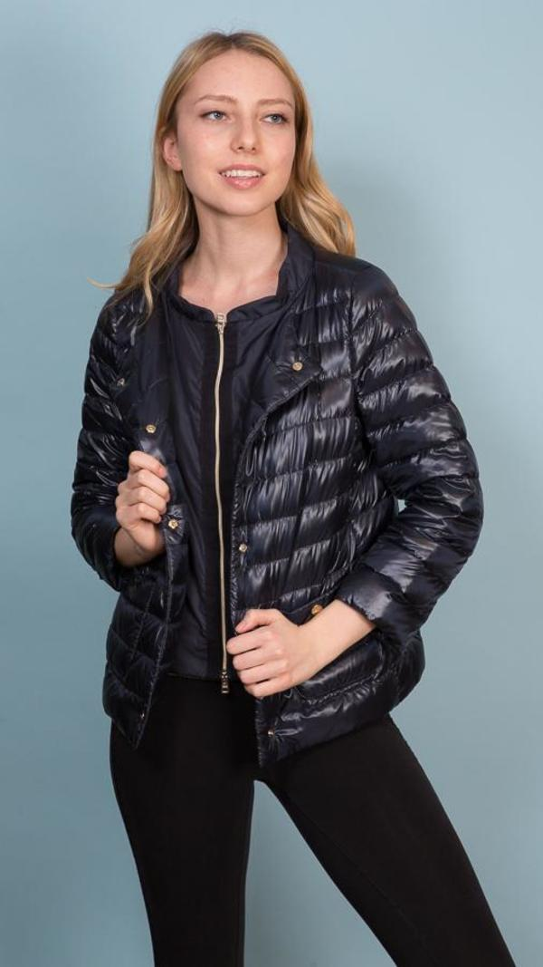 557859fe3 Herno Crewneck Button Down Jacket With Pockets - Navy on Garmentory