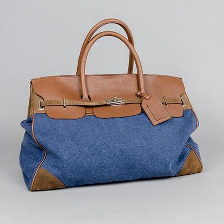 Eleventy Denim and Canvas Travel Bag