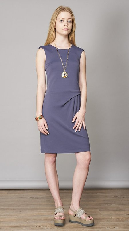 Peserico Side Pleat Dress - Blue