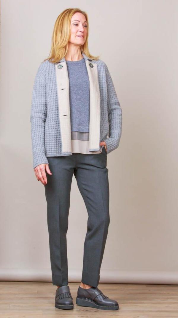 TONET Heavy Knit Jacket - Light Grey/Beige