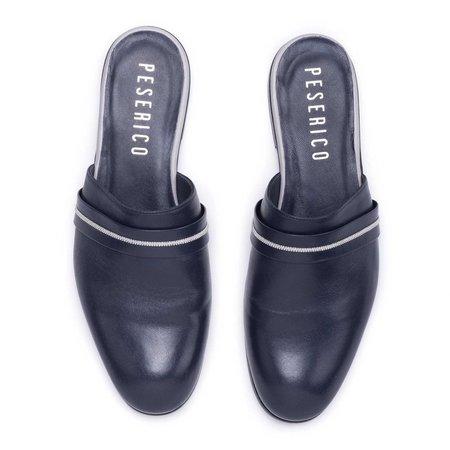 Peserico Leather Slides - Navy