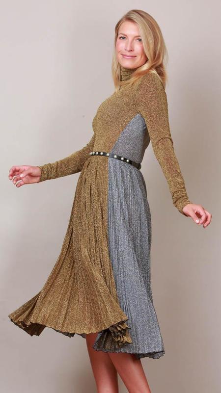 Philosophy Pleated Metallic Lamé Midi Dress - Gold/Silver