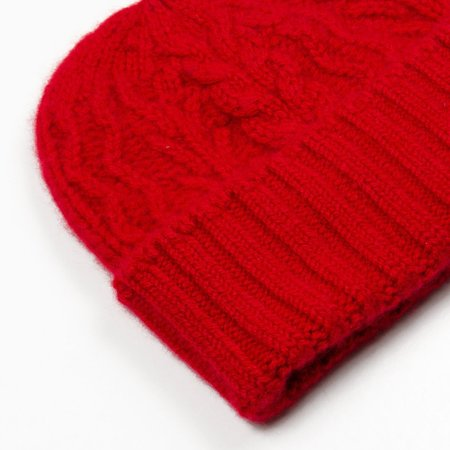 cableami Cashmere Alan Beanie - Red