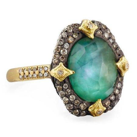 Armenta Silver 18k Yellow Gold Old World Ring With Emerald White Mother Of Pearl White Quartz Gemstone And Champagne Diamonds