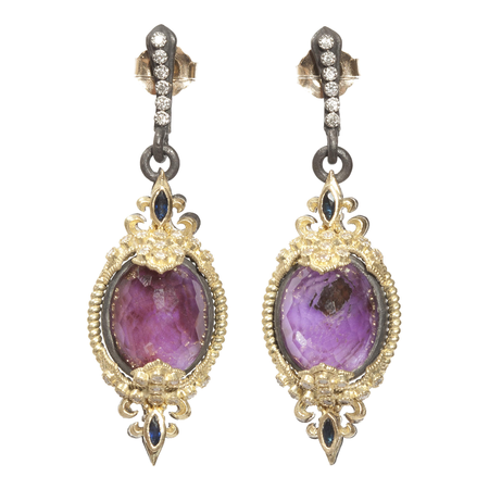 Armenta Silver Fleur De Lis Oval Drop Earrings Sugelite Diamonds With Blue Sapphires