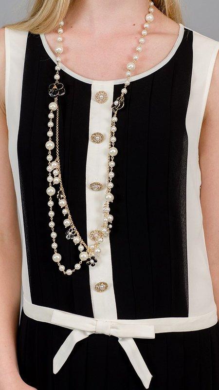 Edward Achour Paris Sleeveless Pleated Dress - Black/White