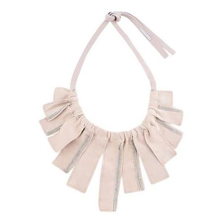 Fabiana Filippi Suede Petal Necklace - Light Peach