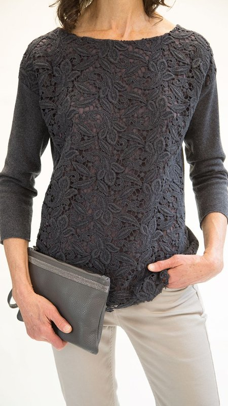 Fabiana Filippi Floral Lace Cutout Sweater - Charcoal Grey