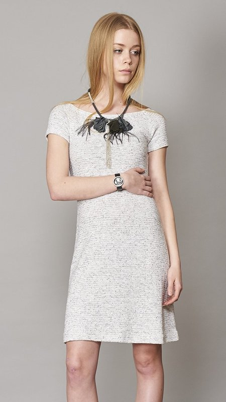 Amina Rubinacci Tweed Dress With Short Sleeves - Gray