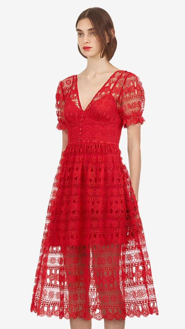 bedb8ae9dea Self-Portrait V-Neck Lace Midi Cocktail Dress - Red