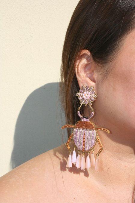 MERCEDES SALAZAR Beetle Earrings - Pink