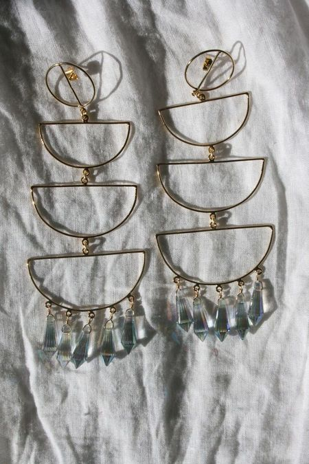 MERCEDES SALAZAR Crystal Cascade Earrings - Gold