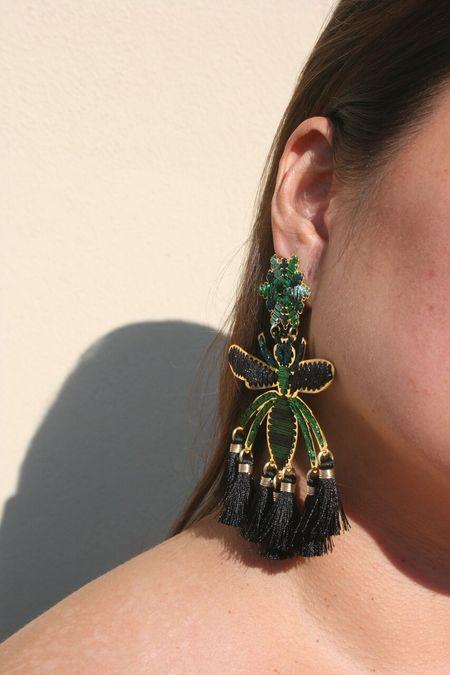 MERCEDES SALAZAR Wasp Earrings - Black/Green