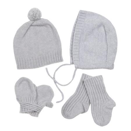 KIDS Makié Four Piece Set Cashere Hat Bonnet Socks And Mittens - Ice Grey