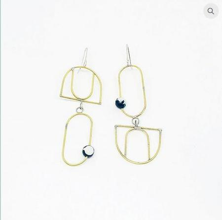 Clster Brass and Fire Asymmetrical Earrings